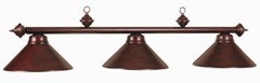 Full Metal Shade 3Lt Billiard Fixture Mahogany Finish